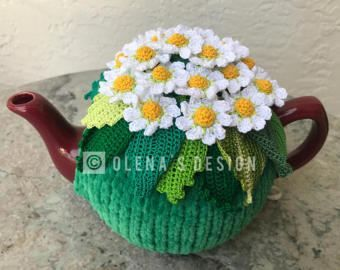 Crochet tea cozy green tea cover daisy tea cosy tea warmer white daisy flower green kitchen accessory crochet high tea accessory décor