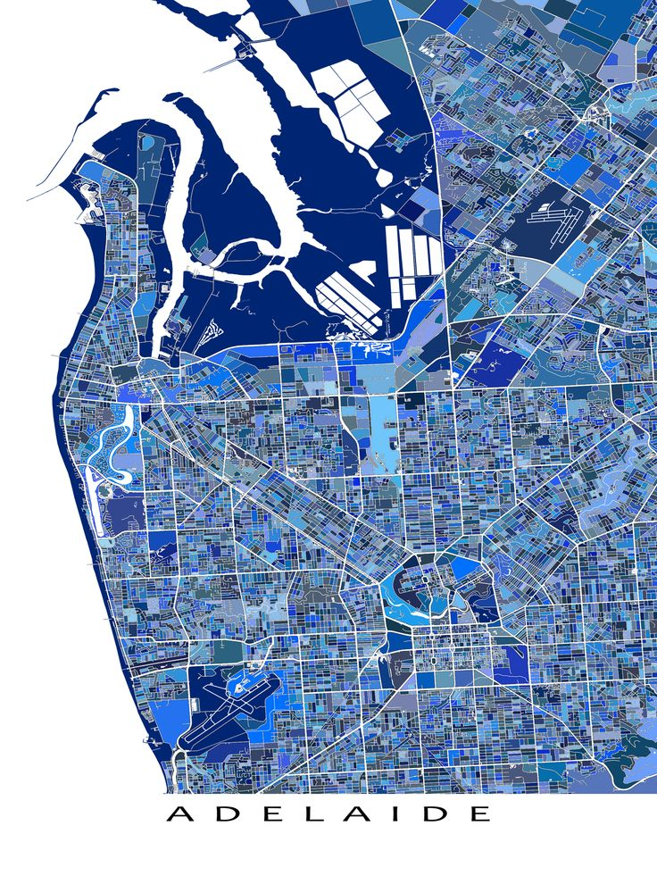 An Adelaide map art print featuring the Australian city of Adelaide, South Australia, Australia.  This Adelaide city map has a design made from lots of little blue shapes. Each shape is actually a city block or a piece of land - and these shapes combine like a puzzle to form this Adelaide print. #adelaide #map #blue