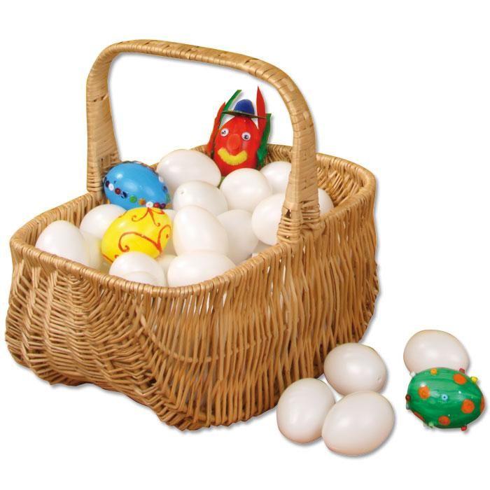 50 Kunststoff-Eier, weiß - mit Loch. | BACKWINKEL