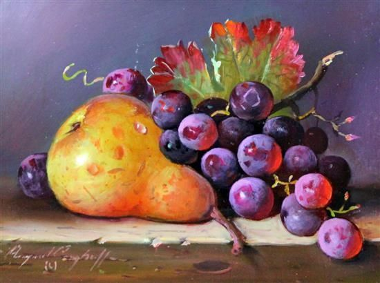 Artwork by Raymond Campbell, Pear with grapes, Made of Oil on board