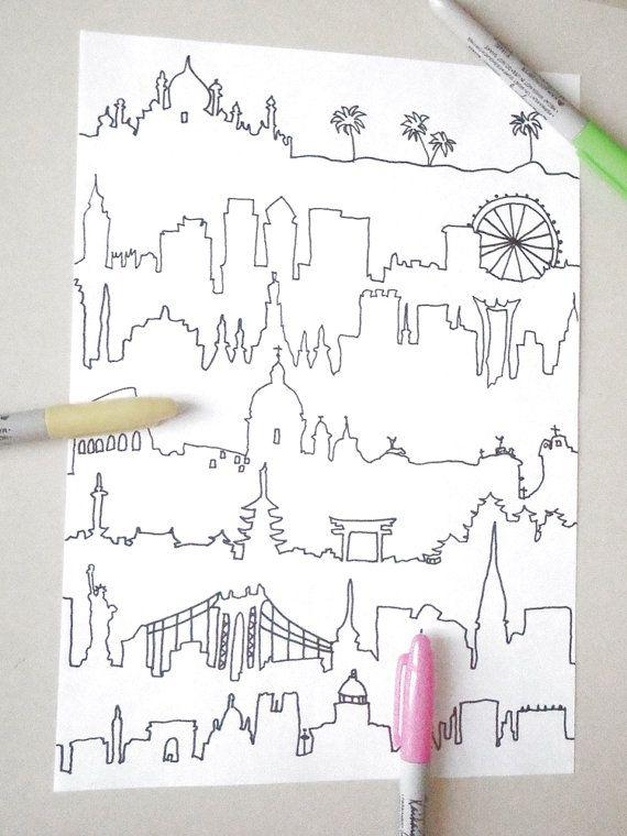 skyline da colorare per adulti mondo panorami di LaSoffittaDiSte