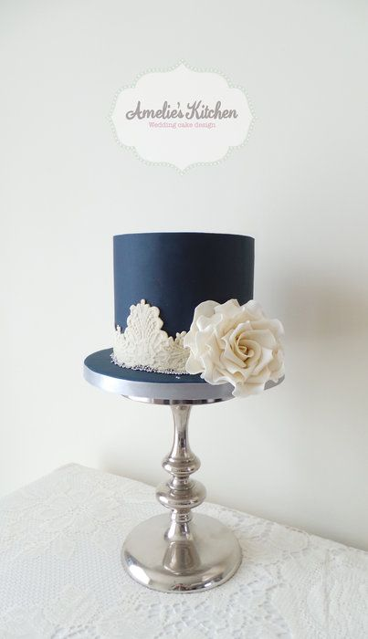 Navy blue and ivory lace wedding cake - by Helen Ward @ CakesDecor.com - cake decorating website