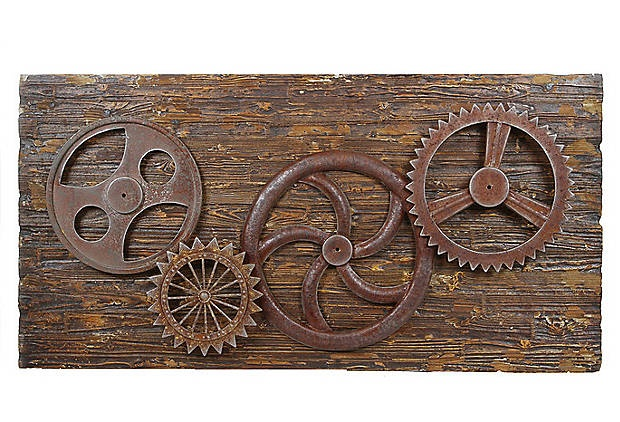 Metal Gears Wall Decor : Metal and wood gears wall decor still a little pricey