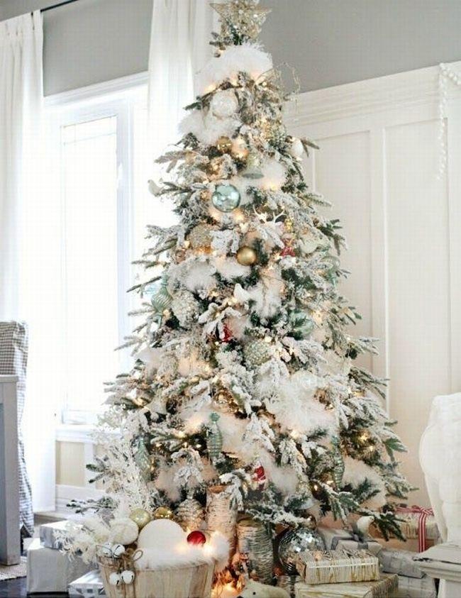 """Biała choinka, choinka w bieli jest zawsze aktualna. Więc może w tym roku choinka przyprószona """"śniegiem""""?;] Patrząc na to, że tak mało go w tym roku na zewnątrz. Niech zima i biała choinka zagoszczą w Twoim domu czyli dekoracje świąteczne, dekoracje domu u Pani Dyrektor ;]"""