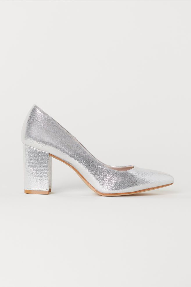 639ae7e5617 Block-heeled Pumps - Silver-colored - Ladies
