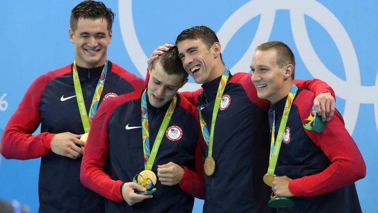 Michael Phelps, Ryan Held, Nathan Adrian and Caeleb Dressel