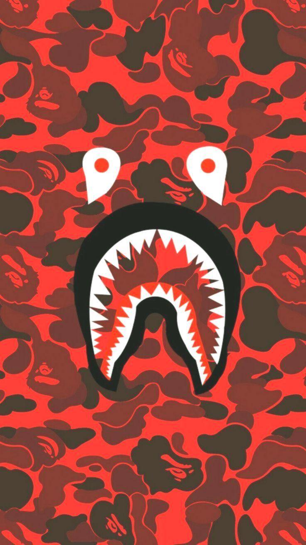 Bape Shark Face Red Camo Tom Moreira Bape Camo Face Moreira Red Check More At Https W Bape Wallpaper Iphone Bape Wallpapers Bape Shark Wallpaper