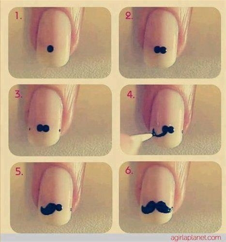 Moustaches - nail art