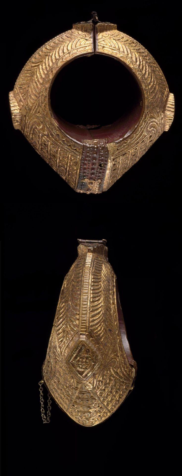 Indonesia | Pair of bracelets; gold over wood |  Early 20th century | Minangkabau people, West Sumatra || {GPA}