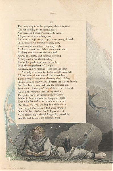 "1797.William Blake - Young's Night Thoughts,Page 15, ""The Longest Night Though Longer Far, Would Fail""."