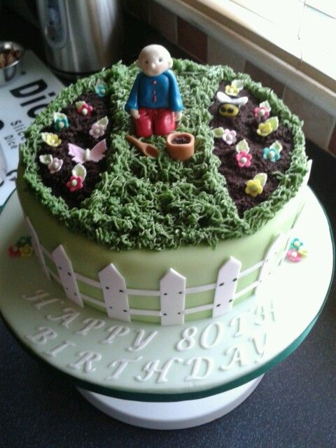80th birthday garden cake cakes pinterest 80th for Gardening 80th birthday cake