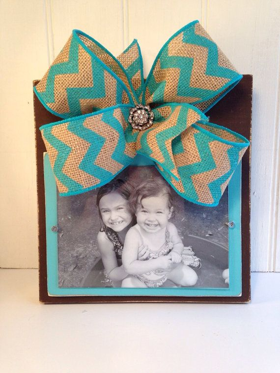 Distressed Brown and Turquoise Picture Frame with Chevron Bow on Etsy, $26.00