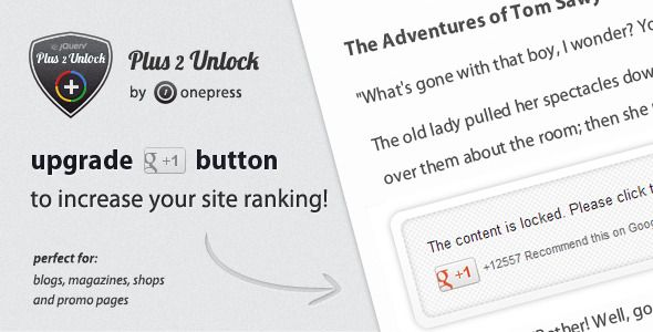Plus One 2 Unlock for jQuery (Social Networks)