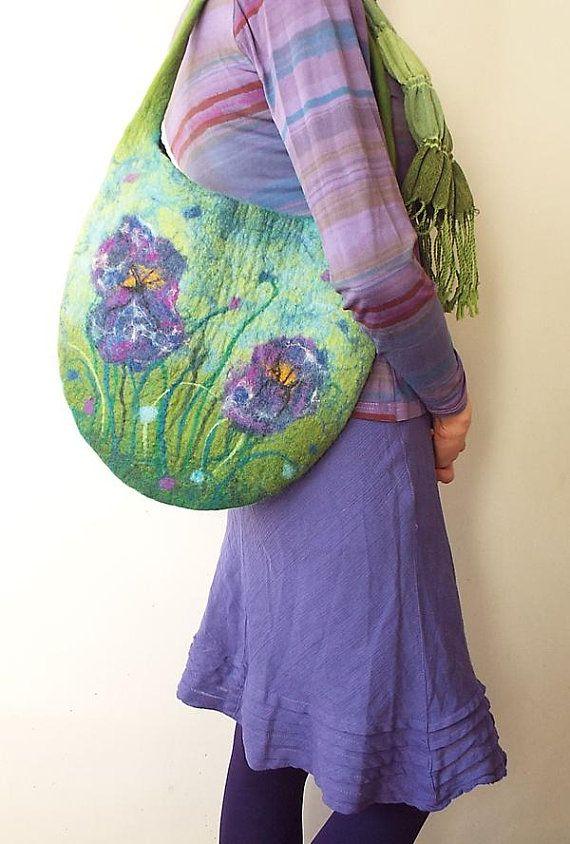 Felted Bag Felt Handbag Spring Flowers Wool bag Green Purple