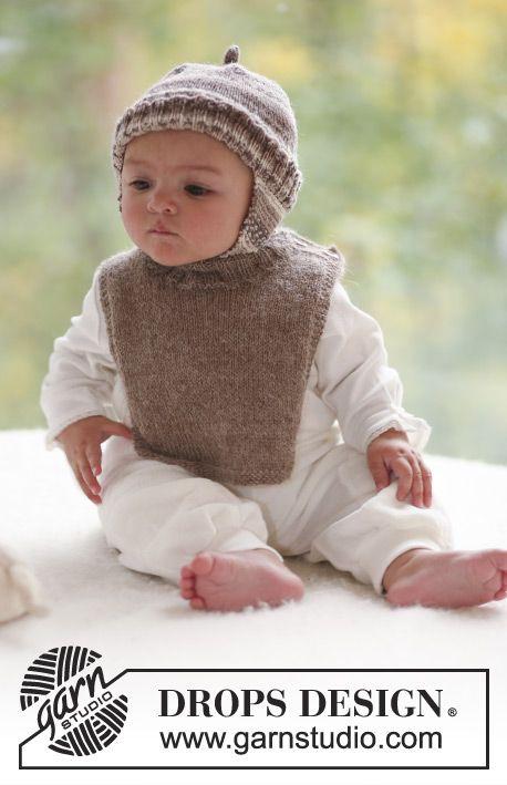 Ensemble au tricot pour bébé et enfant: Bonnet péruvien au tricot, en DROPS Fabel. Plastron au tricot, en DROPS Alpaca