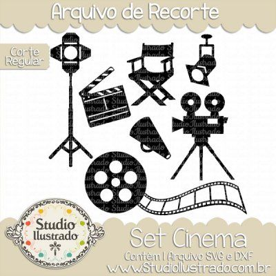 Cinema Set, Cinema, Cadeira, Chair, Claquete, Câmera Filmadora, Clapperboard, Camcorder, Rolo de Filme, Roll of Film, Movie, Filme, Diretor, Director, Corte Regular, Regular Cut, Silhouette, DXF, SVG, PNG
