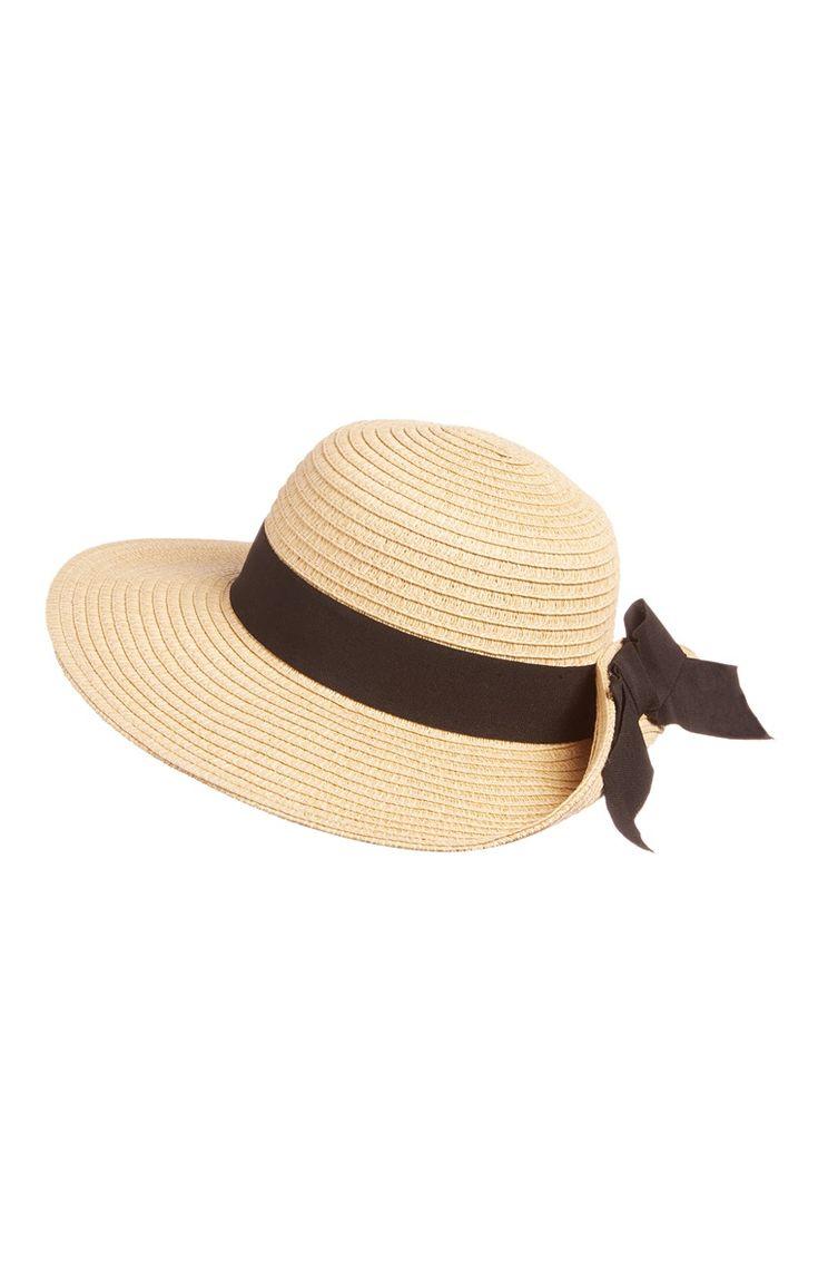 Sombrero flexible de paja con lazo negro