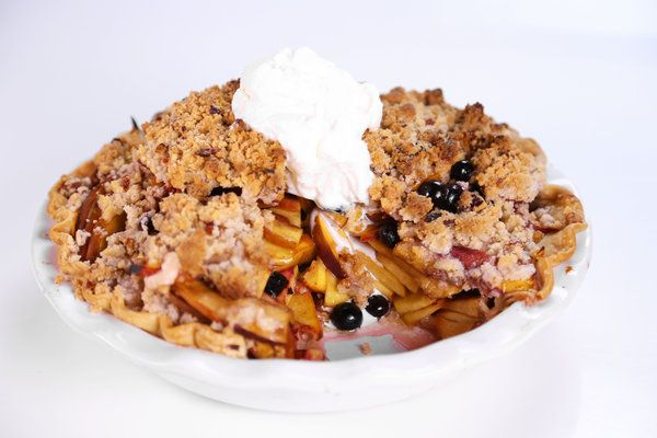 the chew Peach. Blueberry Crumb Pie with pecan crumble topping..... YUMMY! The Chew Hosts said this was the viewer favorite of tops three desserts submitted for the day.