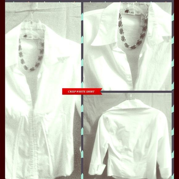 FEMININE CRISP WHITE SHIRT -  EYELET CLOSURE FEMININE CRISP WHITE SHIRT WITH EYELET CLOSURE Down the front and French fold cuffs. Cotton and spandex. Like new. A great basic. Use as a jacket over a cute colorful tank. Looks great with jeans too! Hard to part with... LAB Tops