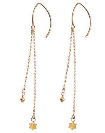 Petite Grand Gold Star Double Drop Earring