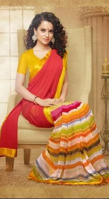 Bollywood Diva Kangana Ranaut Printed #Saree #Printed-Sarees-Collection‎ #Beautiful-Printed-Sarees‎