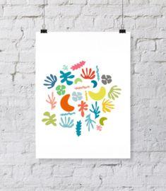 Leuke poster met vormen die je aan de jaren 60 doet denken in leuke kleuren zoals koraal, oranje, roze en aqua.Staat leuk in ieder modern, retro of vintage interieur. ;(Let op! De afbeelding is vierkant en wordt afgedrukt als op de derde foto.)