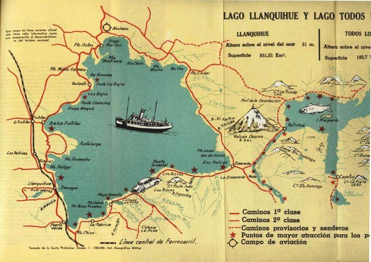 Lago Llanquihue y Todo los Santos. Mapa de Guía de Pesca 1962 FF.CC del E. – Chile.