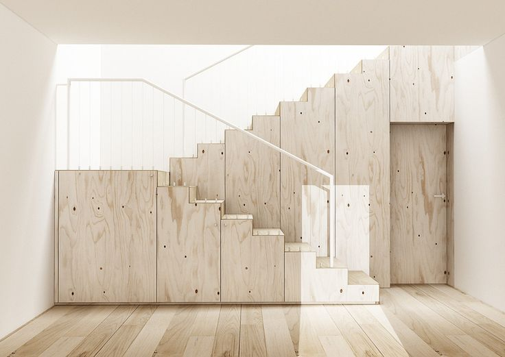unique staircases_plywood stairs with storage