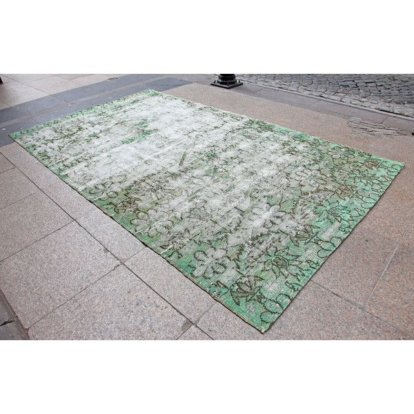 4'7 X 7'10 Seafoam Green Overdyed Turkish Oushak Rug 1940s Anatolian... ($340) ❤ liked on Polyvore featuring home, rugs, floor & rugs, grey, home & living, faux rug, multi-colored rug, gray rug, synthetic area rugs and synthetic rugs