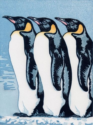Emperor Penguins. Linocut, 15cm x 20cm, 15 of 20 remaining, £30 unframed.