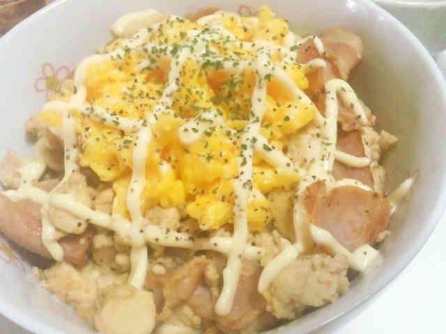 ランチに☆豆腐とベーコンの生姜マヨ丼♪