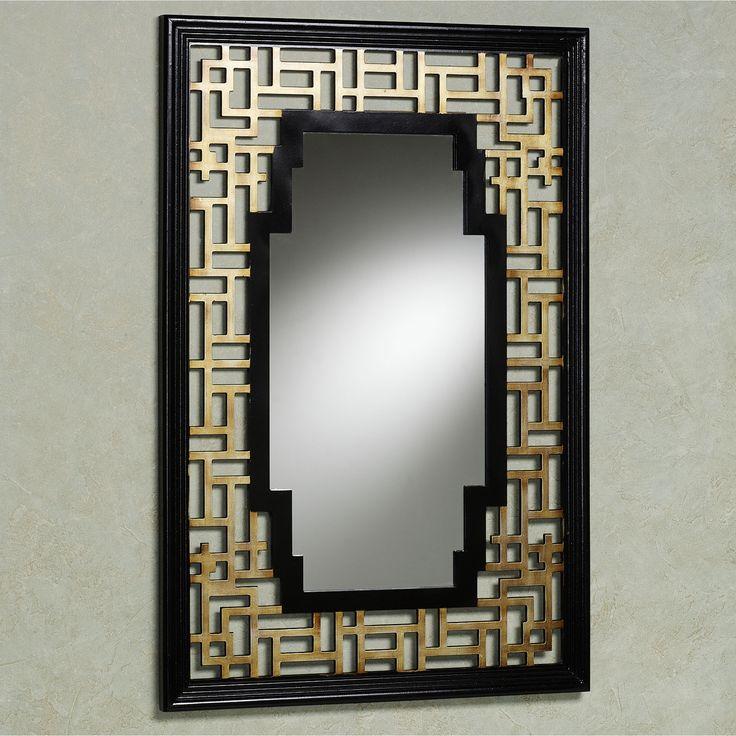 Asian Harmony Wall Mirror Black : Mid century Hollywood Regency.