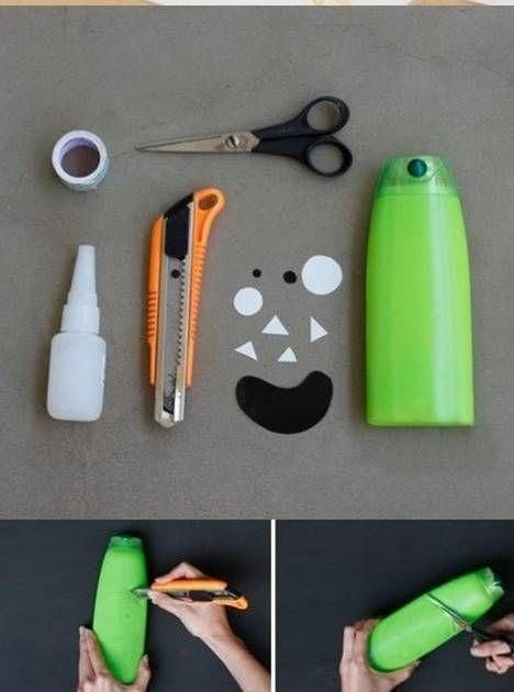 Para guardar lápis e decorar o quarto dos seus filhos...ou netos Porta lápis feito com reaproveitamento de embalagem de shampoo ...