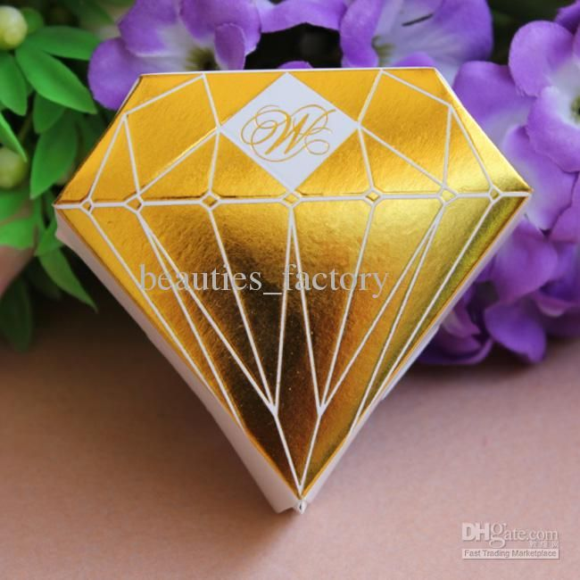 Wholesale Gift Wrap - Buy Gold Diamond Shaped Candy Box Gift Jewelry DIY Paper Boxes Wedding Favors, $0.36 | DHgate
