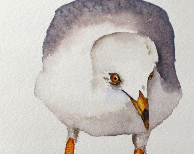Aquarel vogel schilderij vogel kunst originele aquarel Seagull