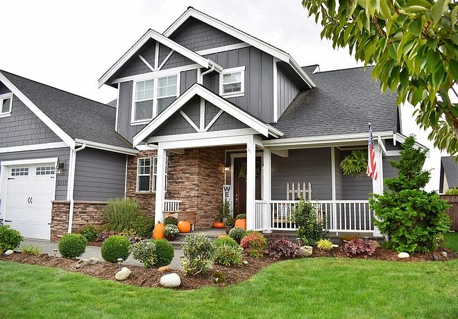Home Exterior Paint Color Is Grey Tabby By Glidden Gray House Exterior Stone Front House House Exterior