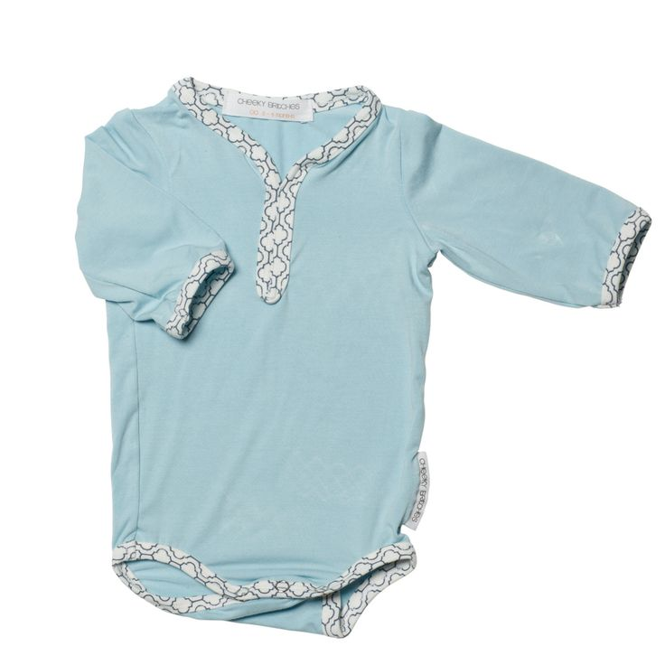 Desert Blue Bamboo Long Sleeve Romper