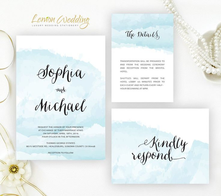 Watercolor Wedding Invitation Set Printed