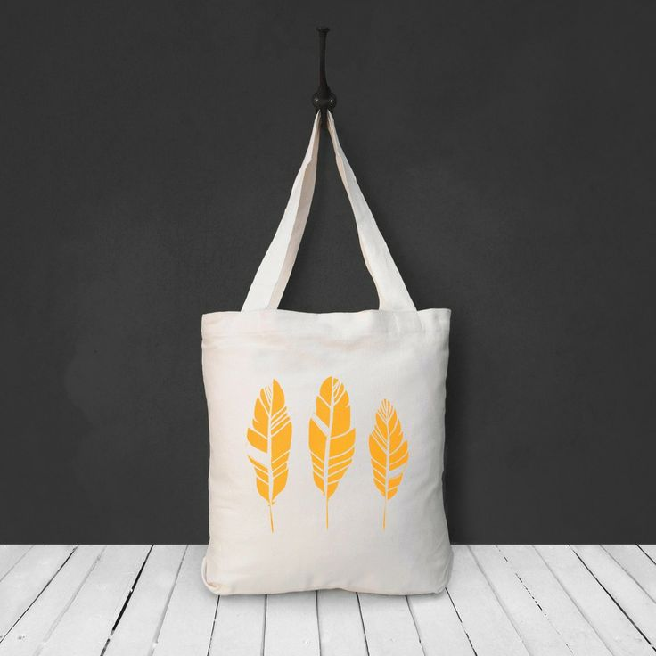 Three Yellow Feathers Cotton Canvas Tote Bag - by The Paperbird Society.