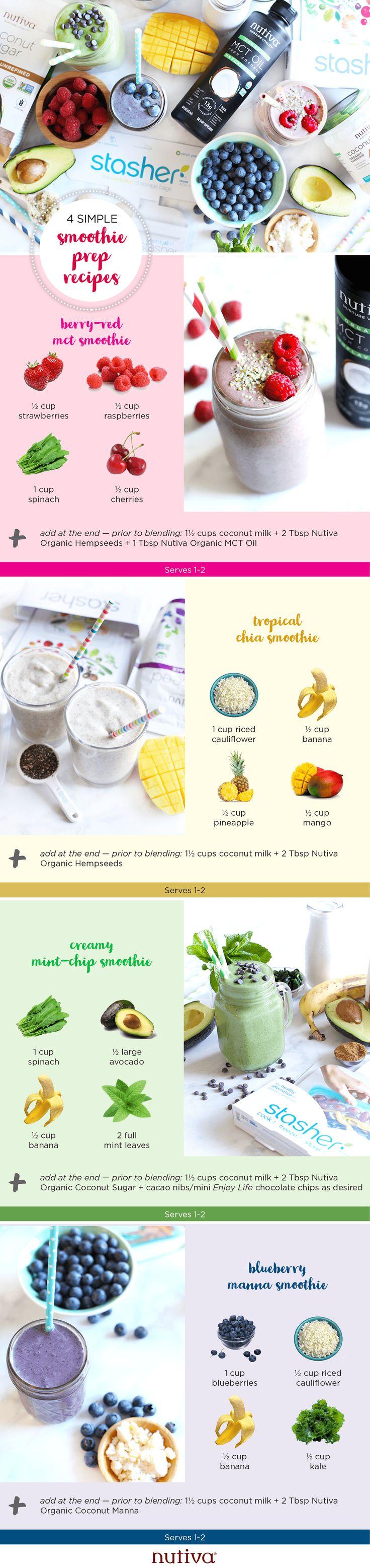 4 Simple Smoothie Prep Recipes #smoothie #recipes