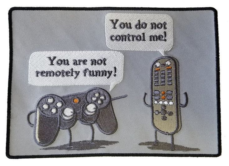 """""""Controlling"""" Funny Video Game Controller & TV Remote Arguing - Novelty Iron On Patch Applique HS P - RO - 0008"""