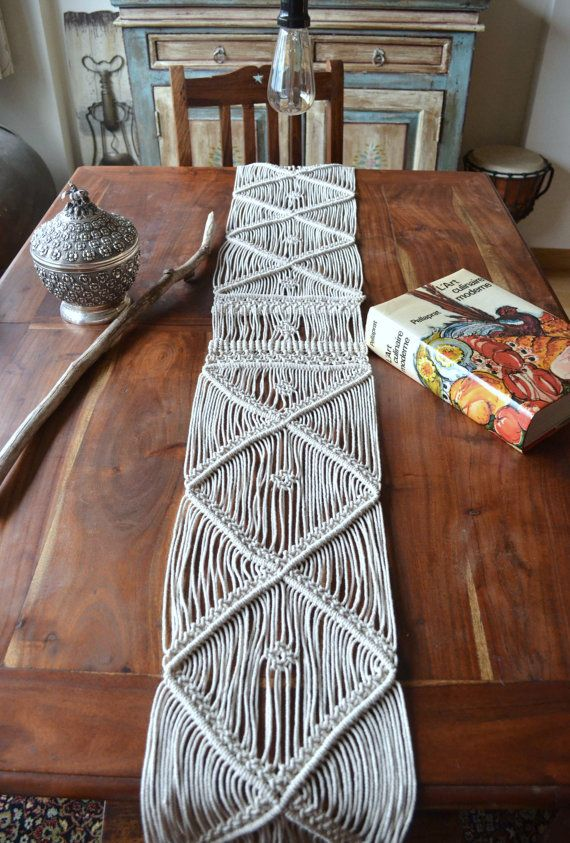 Macrame Table Runner Wall Hanging With Natural Cotton