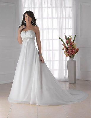 New-White-Ivory-Chiffon-Wedding-Dress-Bridal-Gown-Custom-Size-4-6-8-10-12-14-16