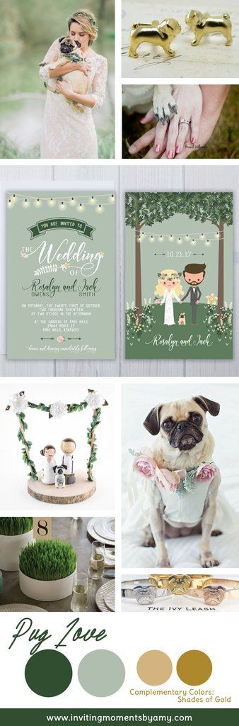 Wedding Inspo | Must Love Dogs | Include Your Dog In Your Wedding pug wedding invite set, dog wedding ideas