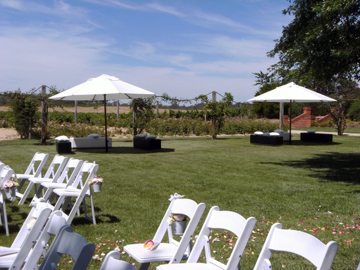 Wedding ceremony setup in the Rose Garden at All Saints Estate winery