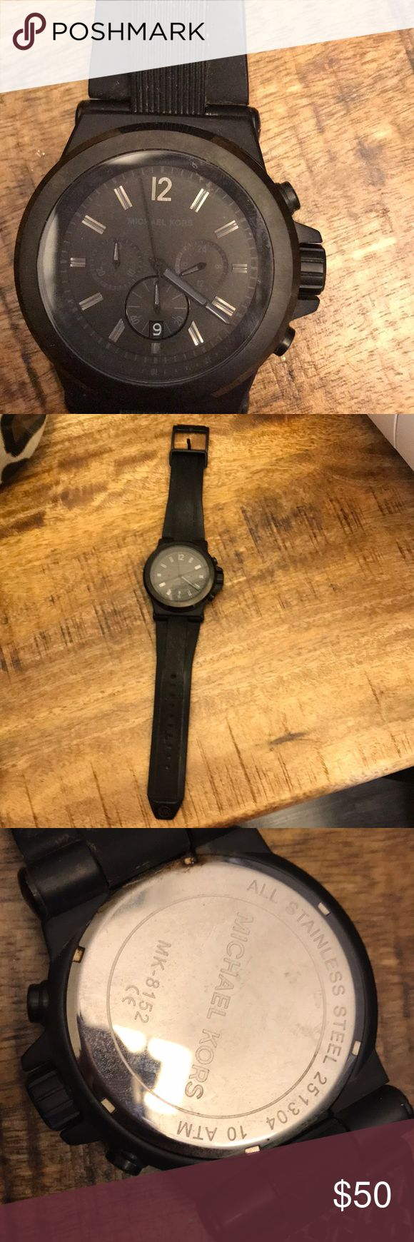 Michae Kors Men's Dylan Watch Michae Kors Men's Dylan Watch  Pre-Used Men's Watch  Black silicone strap  It NEEDS to be cleaned- hence low price  Needs new battery Michael Kors Accessories Watches