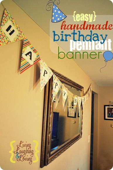 DIY Birthday Banner.  made with diaper box cardboard as backing, scrapbook paper for cover and letters. super glued on twine.  super cute!