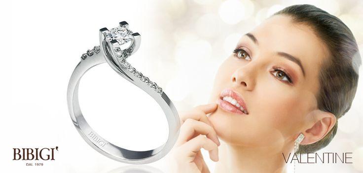 Anello oro bianco e diamanti #Valentine #Bibigi , #Bibigì . Un must per chi non sa rinunciare al classico solitario, anello o parure, una collezione classica dalla montatura delicata ma curata nei più piccoli particolari.