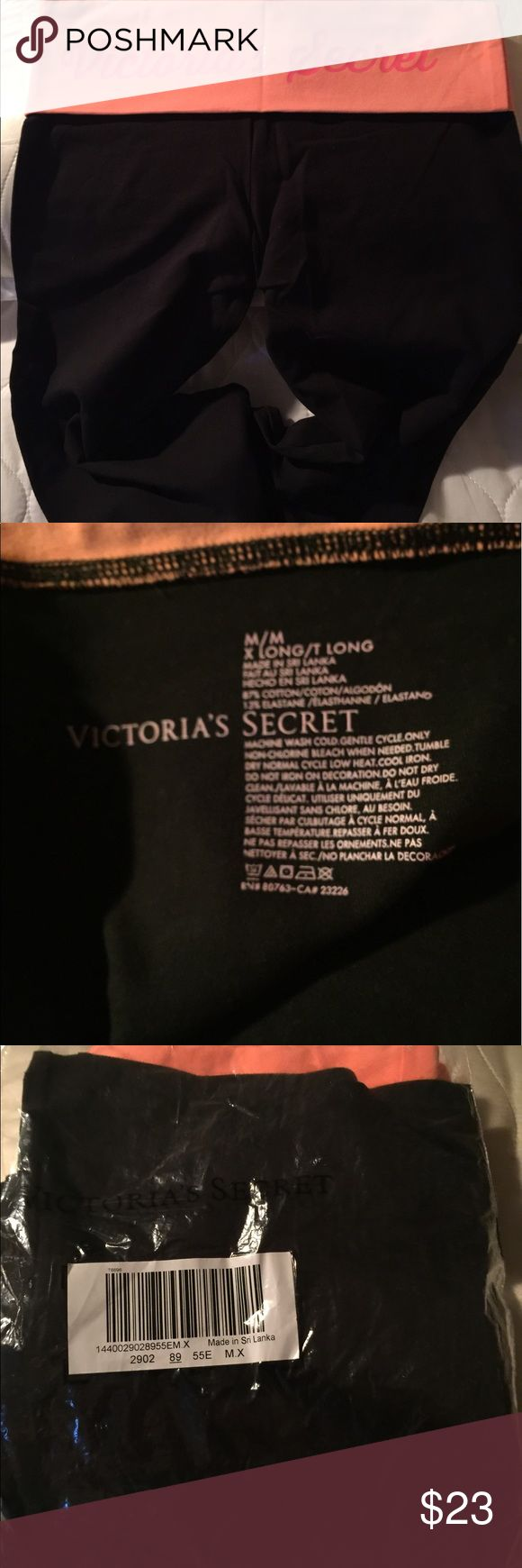 Victoria's Secret yoga pants. Victoria Secret yoga pants, black and melon, with logo on back, size medium-extra long tall.  New in the package Victoria's Secret Pants Track Pants & Joggers