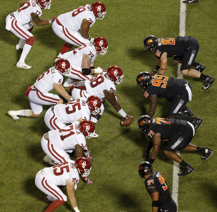 OU and OSU line up for a play in the fourth quarter during the Bedlam college football game between the Oklahoma State Cowboys (OSU) and the Oklahoma Sooners (OU) at Boone Pickens Stadium in Stillwater, Okla., Saturday, Nov. 4, 2017. Photo by Sarah Phipps, The Oklahoman